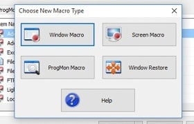 Choose from clicks, macros, process control and window restore items
